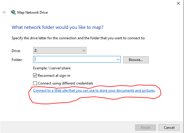 Map network drive wizard