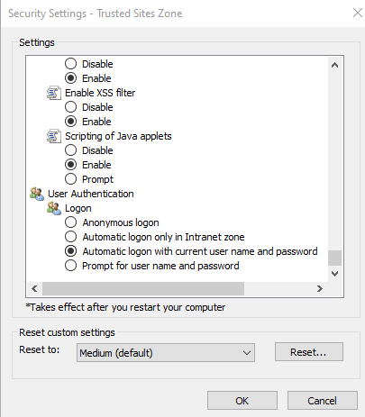 Automatic logon with current username and password
