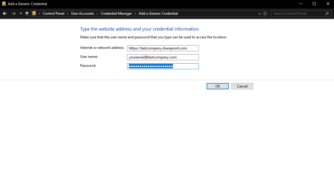 SharePoint site username email address for Office 365 Box