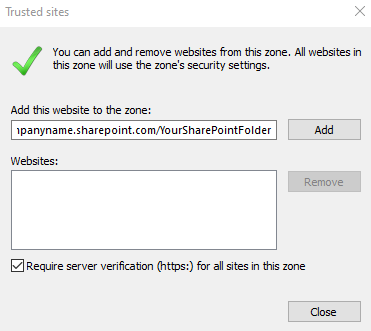 Require server verification checkbox