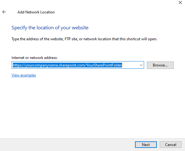 Specify the sharepoint location
