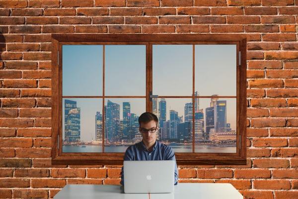 Digital transformation man on the window (1)