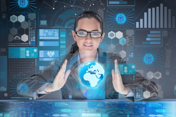 Women analyzing professional services software and analytics