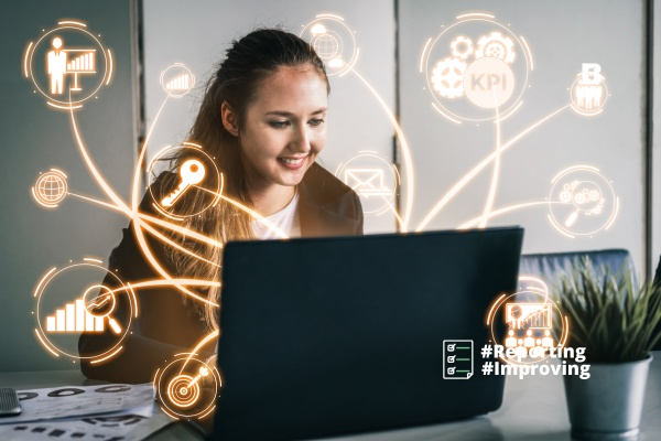 Woman reading a paginated report by Power BI